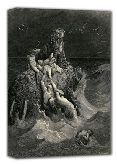 Dore, Gustave: The Deluge (The Flood, illustration from Dore's 'The Holy Bible'). Fine Art Canvas. Sizes: A4/A3/A2/A1 (001829)